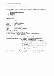 lesson plan descriptive adjectives physical appearance
