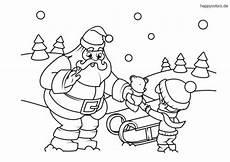 weihnachtsmann mit und teddy malvorlage