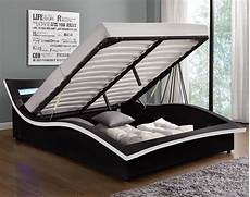 lit led design 140x190 simili cuir noir avec coffre de