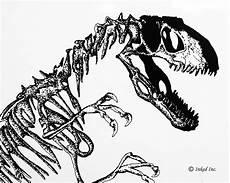 printable dinosaur skeleton pen and ink original by inkedink