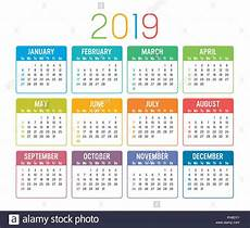 colorful year 2019 calendar isolated a white background stock vector art illustration