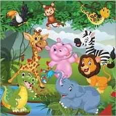 Safari Kartun Binatang Hutan Tropis Hutan Singa Gajah