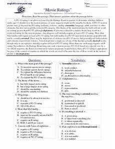 reading comprehension informational passages quot movie ratings 8th 9th grade worksheet