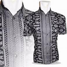 jual a0546 baju batik kerah koko batik warna hitam elegan lengan pendek di lapak nandapro