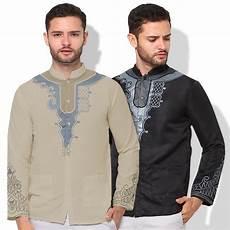 jfashion baju koko tangan panjang muslim pria printing yusuf panther elevenia