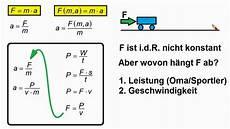 physik mechanik momentan beschleunigung aus leistung