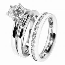 his hers 3 pcs stainless steel womens wedding ring w mens clear cz band ebay