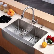 kraus farmhouse 33 quot 60 40 double bowl kitchen sink reviews wayfair