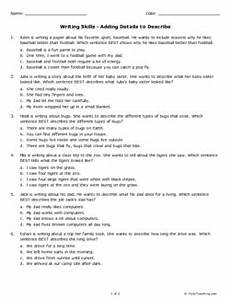 writing skills adding details to describe grade 2 free printable tests and worksheets