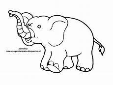 Mewarnai Gambar Mewarnai Gambar Sketsa Hewan Gajah 1
