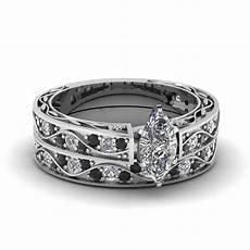 marquise cut filigree wedding with black