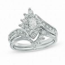 1 ct t w marquise diamond frame bridal in 14k white gold 1 carat rings wedding zales