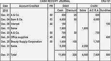 cash receipt journal definition explanation format exle play accounting