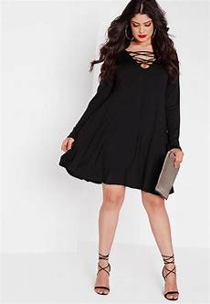 Plus Size - plus size black lace up swing dress missguided