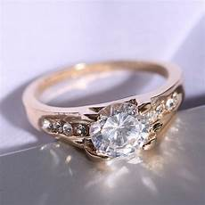 rinhoo big crystal gold wedding rings for engagement anniversary gift couple ring in