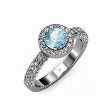 aquamarine diamond milgrain work halo engagement ring 1