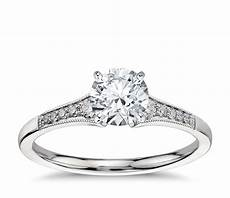 graduated milgrain diamond engagement ring in platinum 1