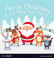 merry christmas cartoon greeting card happy vector image