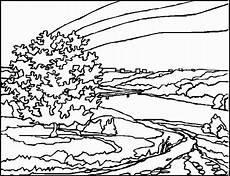 baum mit bruecke ausmalbild malvorlage landschaften