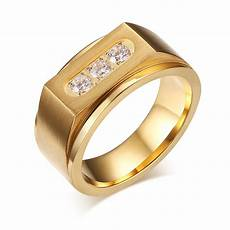 luxury three aaa cubic zirconia ring mens signet rings gold stainless steel wedding rings for