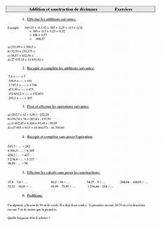 calcul g 233 noise et addition et soustraction de d 233 cimaux cm2 exercices