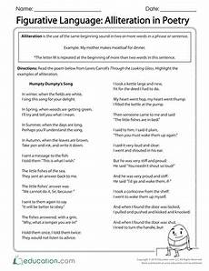 worksheets on figurative language in poetry 25440 figurative language alliteration in poetry figurative language alliteration reading