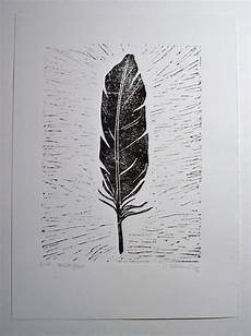 feder schwarz weiß vorlage manchmal federleicht linoldruck linolschnitt