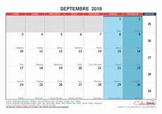 Calendrier Mensuel Mois De Septembre 2018 Avec F 234 Tes
