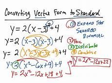 converting standard form to vertex form converting vertex form to standard form math algebra quadratic equations showme
