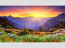 Awesome Sunset Sun Rays Forested Mountains, Beautiful