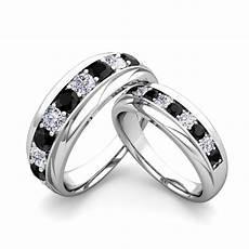 his and hers wedding band platinum black diamond wedding rings