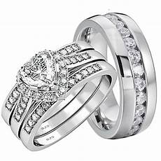 his and hers wedding rings 4 pcs engagement sterling silver stainless steel ebay