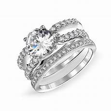 pave cubic zirconia solitare 925 sterling silver double band cz engagement wedding ring
