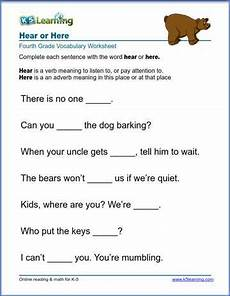 grade 4 vocabulary worksheet use of here or hear k5
