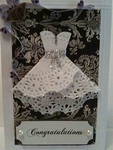 doily dress wedding card with a little bling this