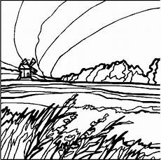 windmuehle in der landschaft ausmalbild malvorlage