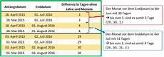 excel datum differenz mit der funktion datedif berechnen