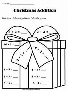 christmas addition math coloring activtiy by educating everyone 4 life