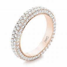 14k rose gold custom edge less pave diamond eternity