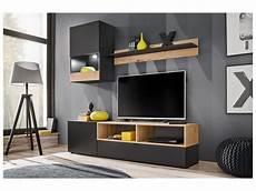ensemble meuble tv nano noir mat et bois artisana 175 cm