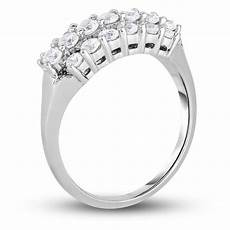1 ct t w diamond three row staggered anniversary ring in 14k white gold anniversary rings