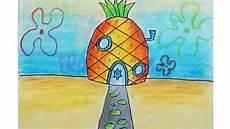 Cara Menggambar Rumah Spongebob Dan Pemandangan Bawah Laut