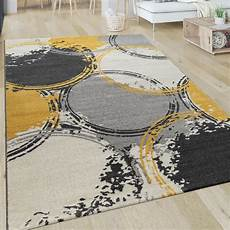 teppich gelb grau kurzflor teppich kreise gelb grau wei 223 teppich de