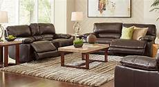 cindy crawford home auburn hills brown leather 3 pc
