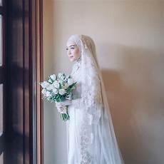 Jilbab Pengantin Muslimah Modern Voal Motif