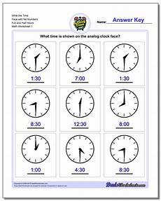 time worksheets hour and half hour 2913 and half hours