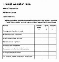 training evaluation form templates free free 15 sle training evaluation forms in pdf