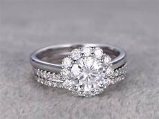 flower moissanite wedding ring diamond curved matching band white gold halo thin pave