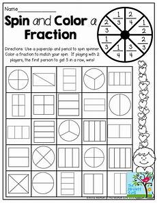 fraction worksheets colouring 3874 spin and color a fraction tons of on and printables 3rd grade math