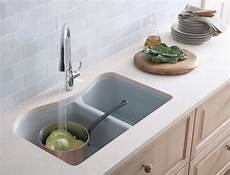 kohler k 5841 4u 58 lawnfield undercounter offset double basin sink with four hole faucet